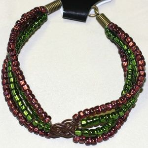 Handcrafted Purple and Green Celtic Knot Bracelet